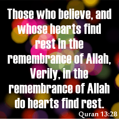 islamic picture with verse from Quran about hearts finding rest