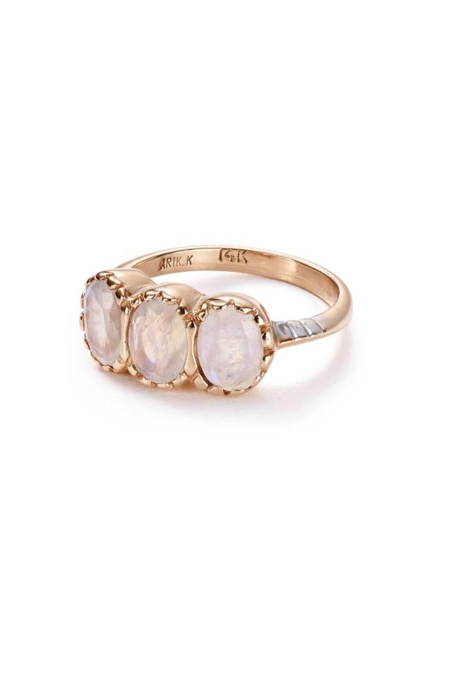 Moonstone Trinity Ring in 14k Rose Gold by Arik Kastan