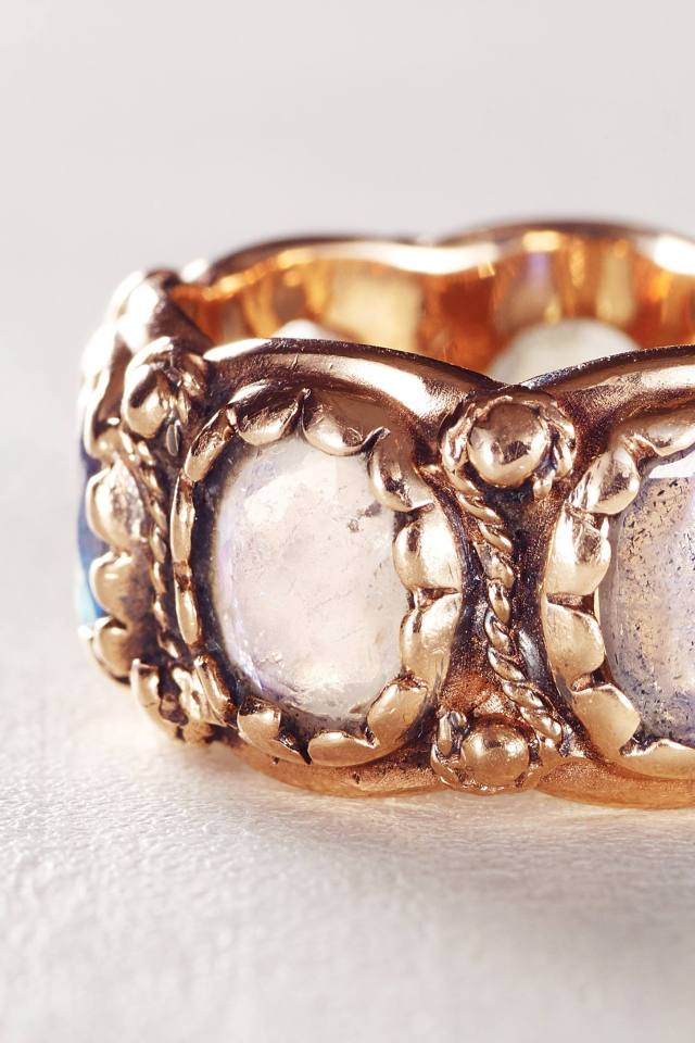 Moonstone and Labradorite Renaissance Ring in 14k Rose Gold by Arik Kastan
