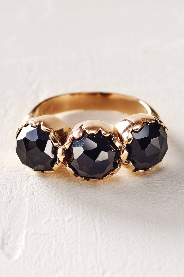 Rosecut Onyx Trinity Ring in 14k Rose Gold by Arik Kastan
