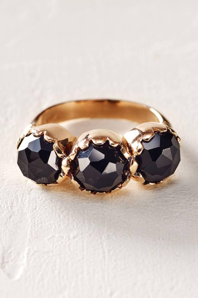 Rosecut Onyx Trinity Ring in 14k Rose Gold by Arik Kastan