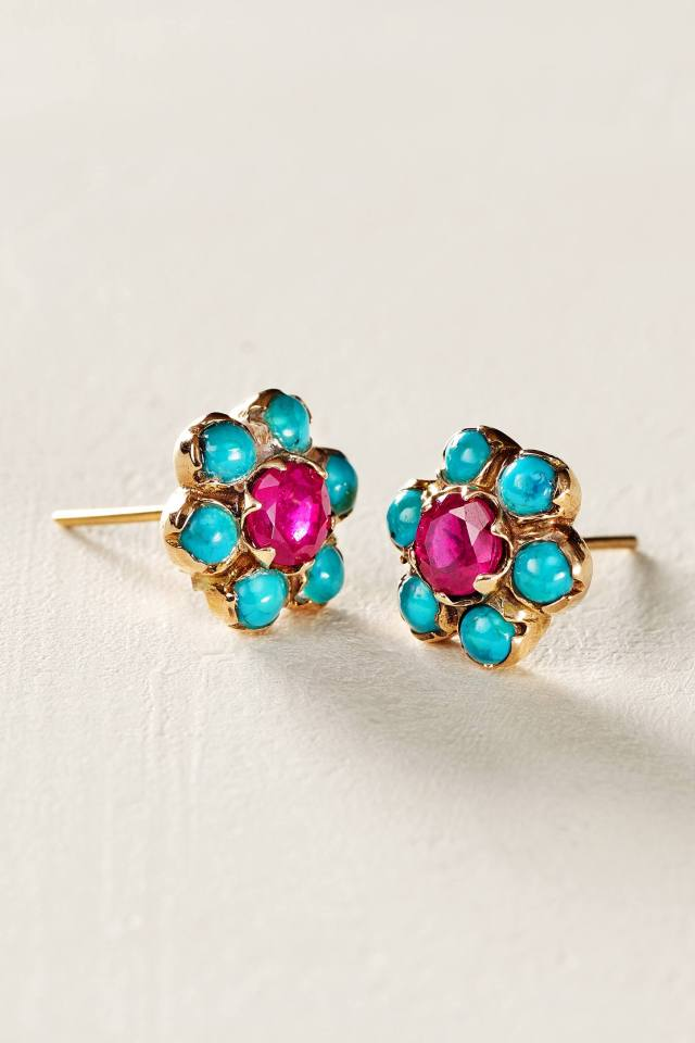 Turquoise and Ruby Blossom Studs in 14k Rose Gold by Arik Kastan