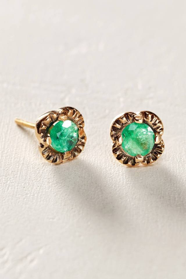 Emerald Scalloped Studs in 14k Rose Gold by Arik Kastan