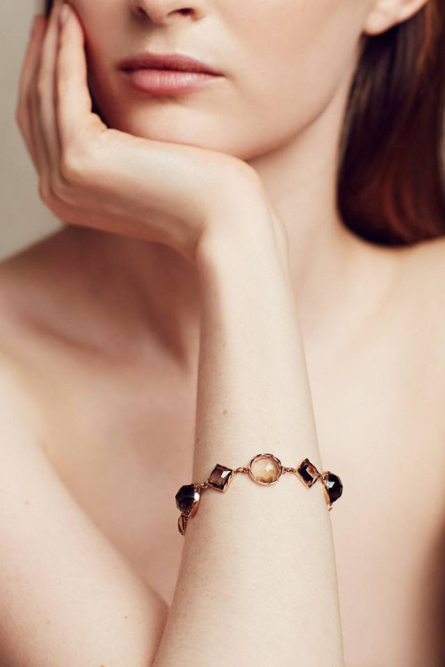Rosecut Smoky Quartz Bracelet in 14k Rose Gold by Arik Kastan
