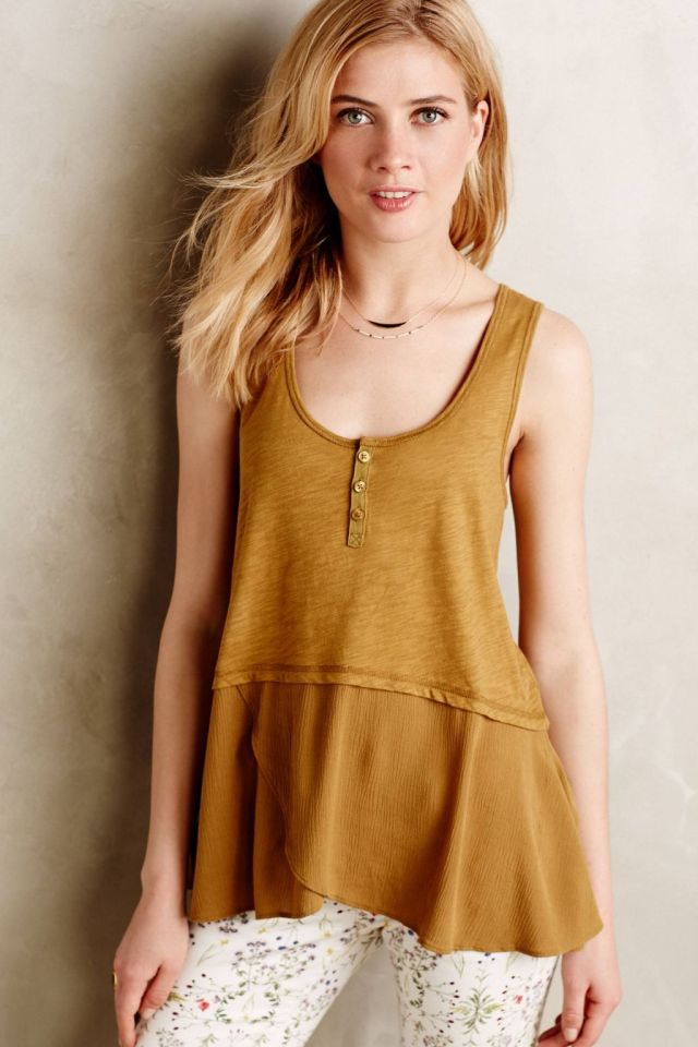 Cutout Henley Tank by Little Yellow Button