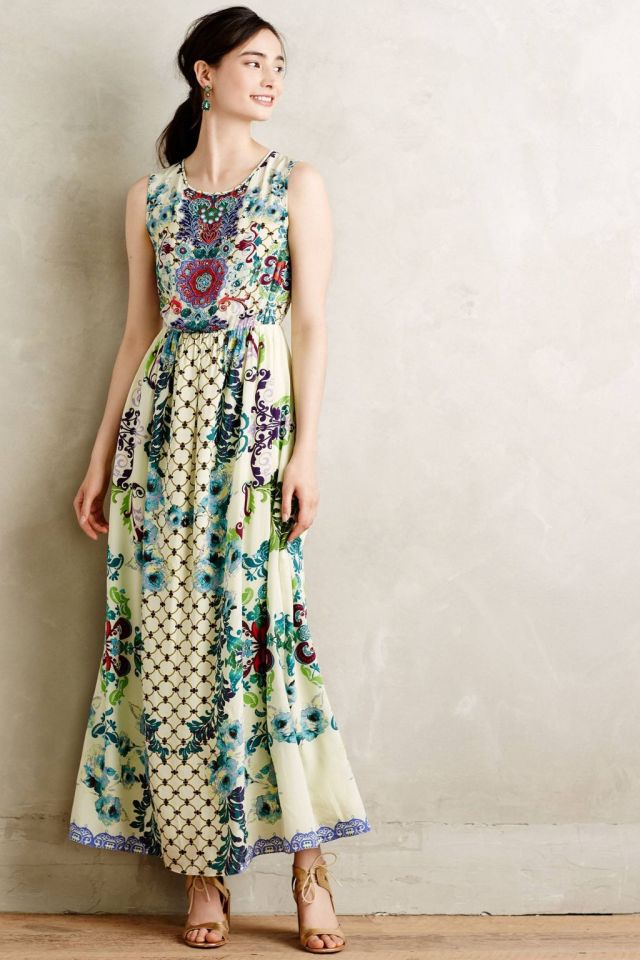 ad5b6b7e269d6 Flores Petite Sheath Back Embroidered Canaria Maxi Dress by Hemant & Nandita