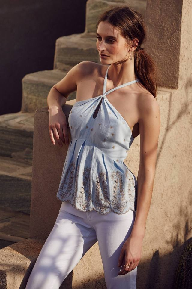 Embroidered Peplum Halter by Moulinette Soeurs