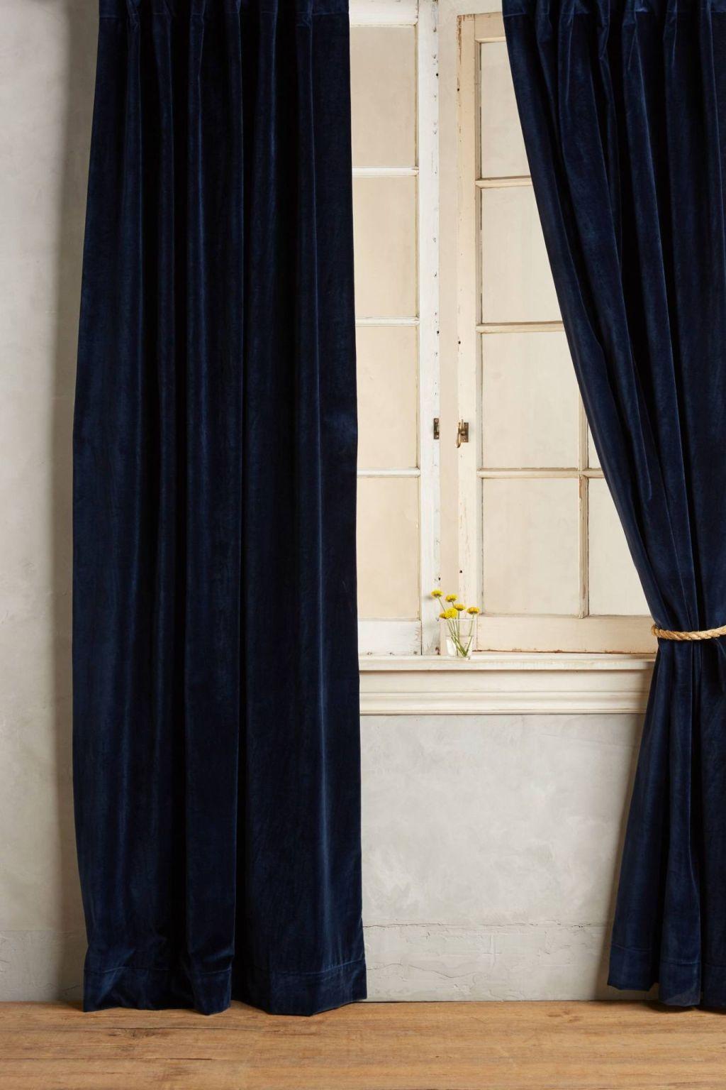 Laxmi Curtain In Blue Matte Velvet Curtain