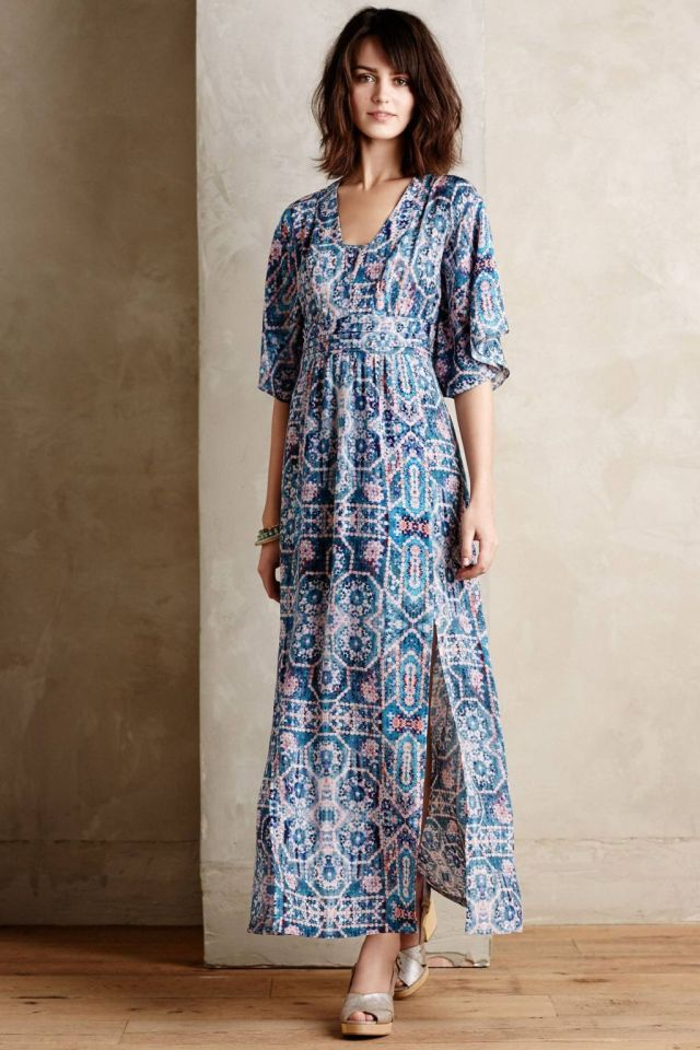 Silk Tilework Maxi Dress by Maeve