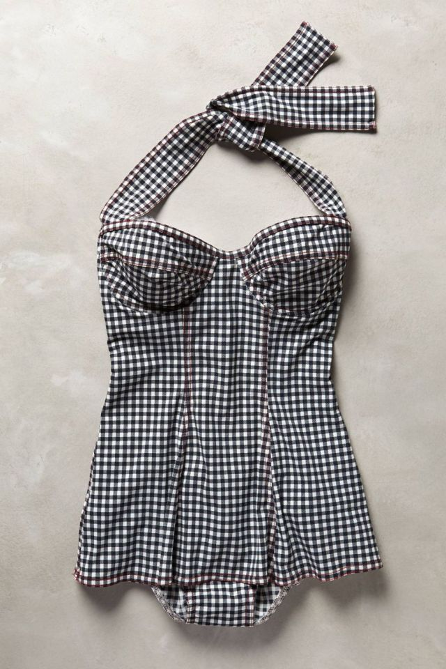 Skirted Gingham Maillot by Karla Colletto