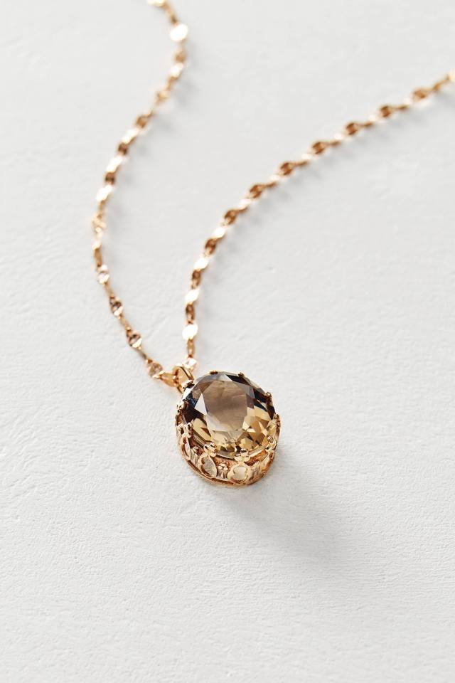 Smoky Quartz Pendant Necklace in 14k Rose Gold by Arik Kastan