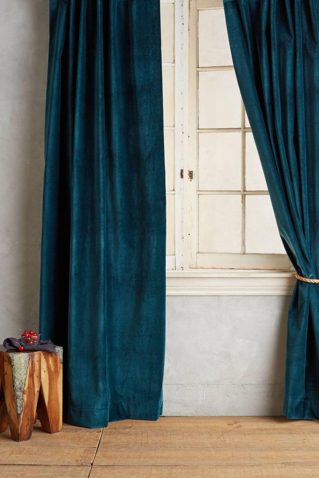 Matte Velvet Curtain In Teal Washed Velvet Curtain