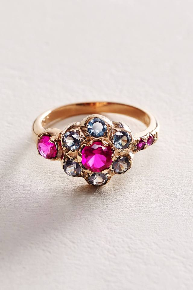 Zircon Posy Ring in 14k Rose Gold by Arik Kastan