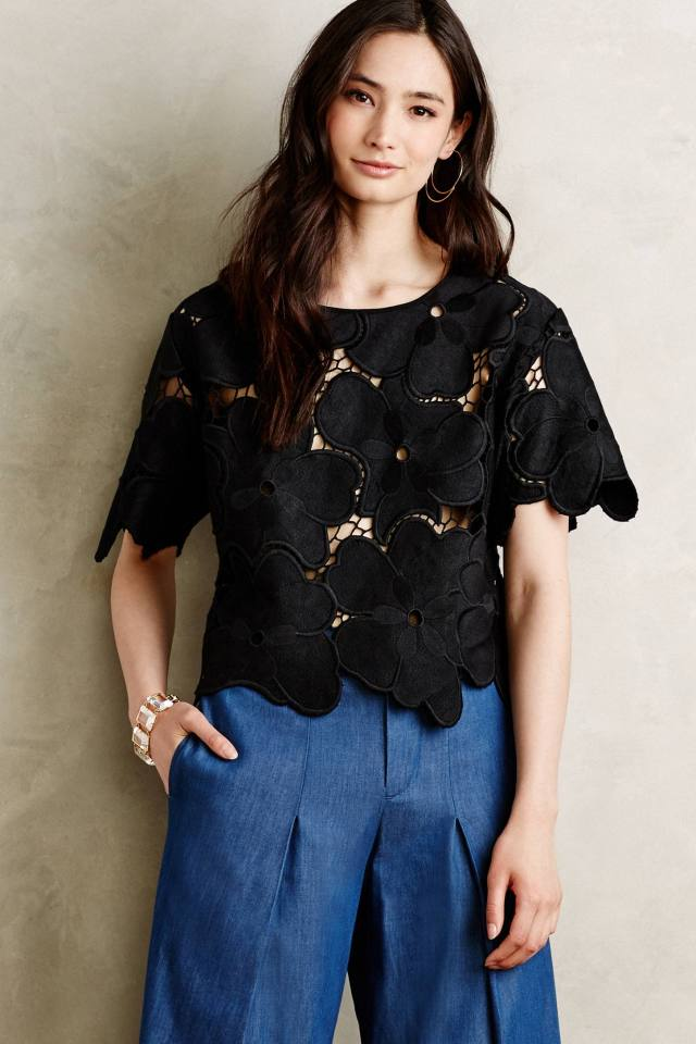 Oversized Floral Lace Tee by Cynthia Rowley