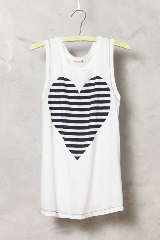 Striped Heart Tank by Sundry