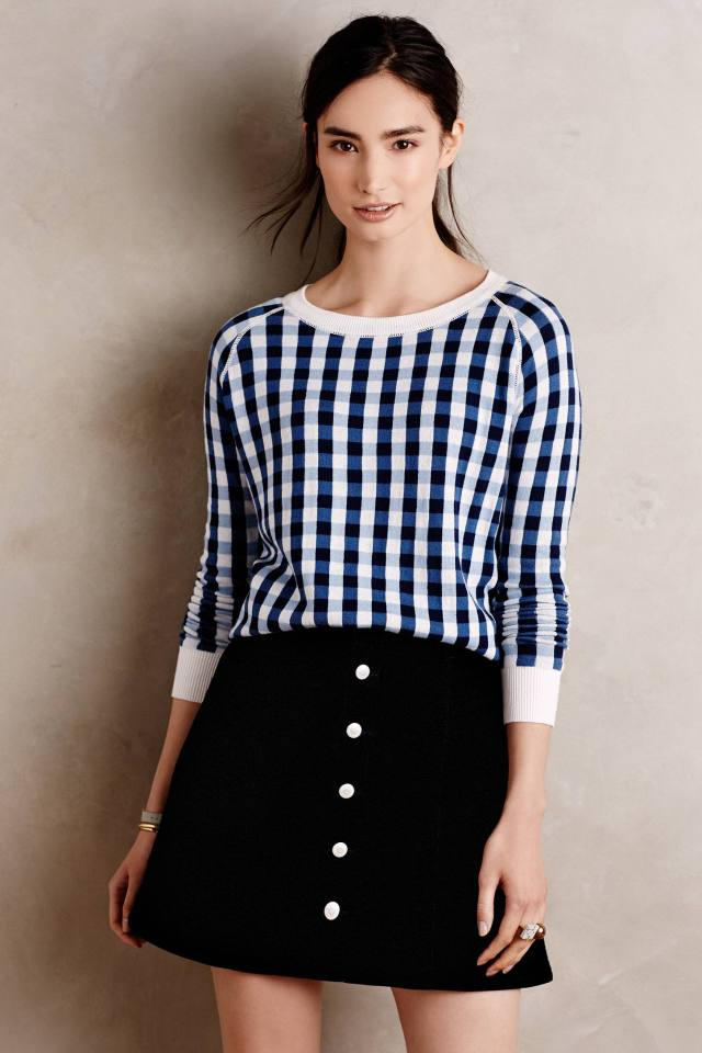 GINGHAM JACQUARD PULLOVER