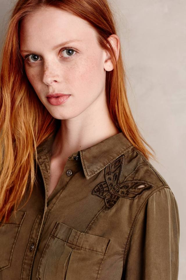 Embroidered Butterfly Buttondown by Holding Horses