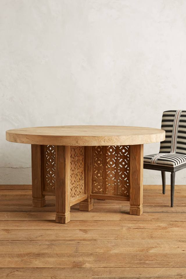 Handcarved Fretwork Dining Table, Round