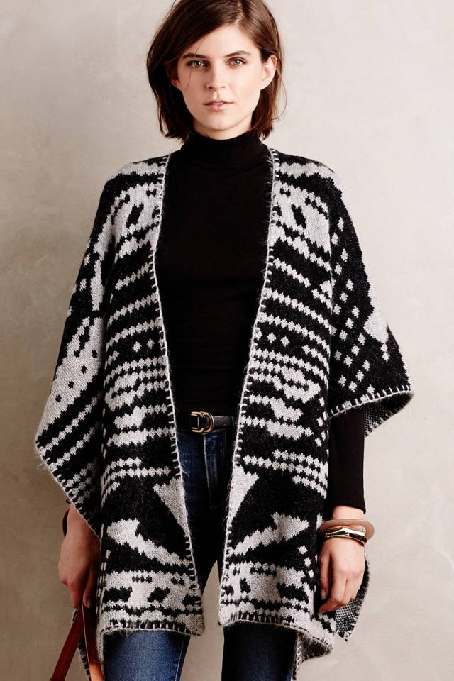 Jacquard Blanket Poncho by White and Warren