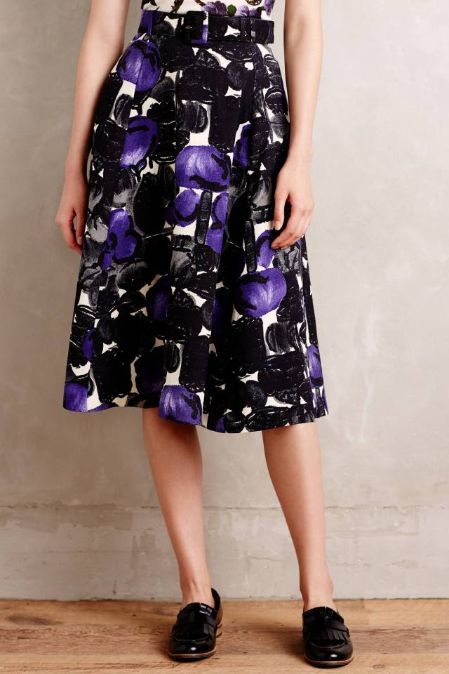 Plum Brambles Belted Skirt by Samantha Sung