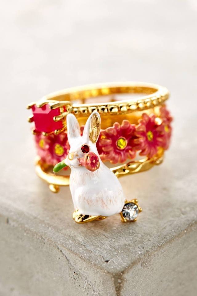 Garden Rabbit Ring Set by Les Nereides
