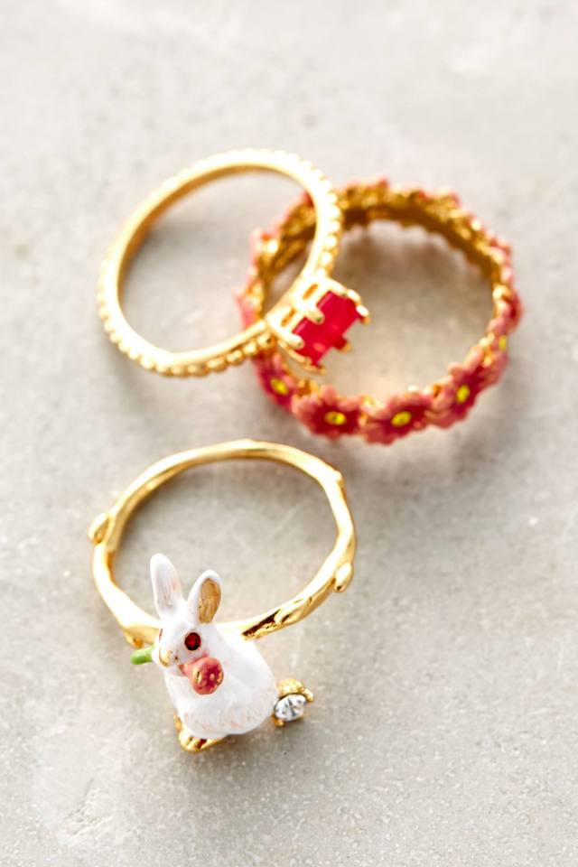 Garden Rabbit Ring Set by Les Nereides