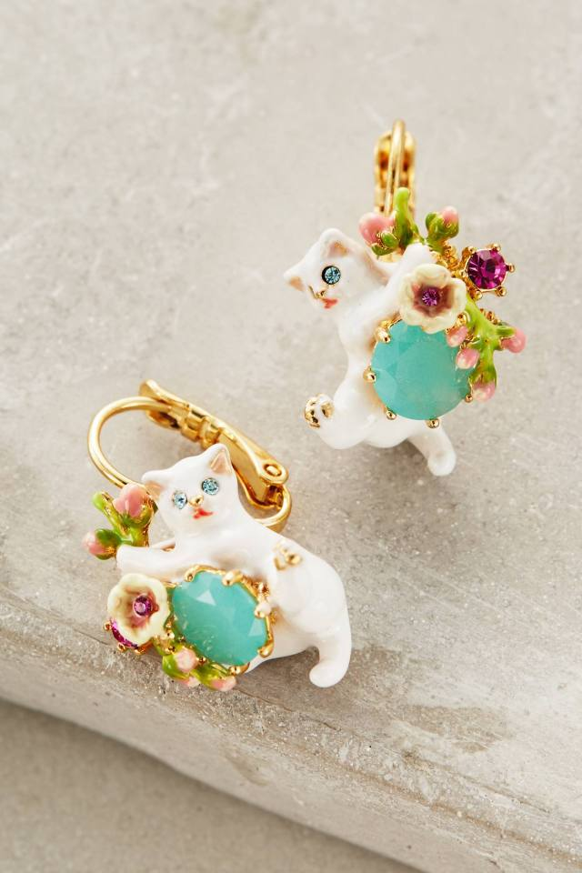 Le Chat Blanc Earrings by Les Nereides