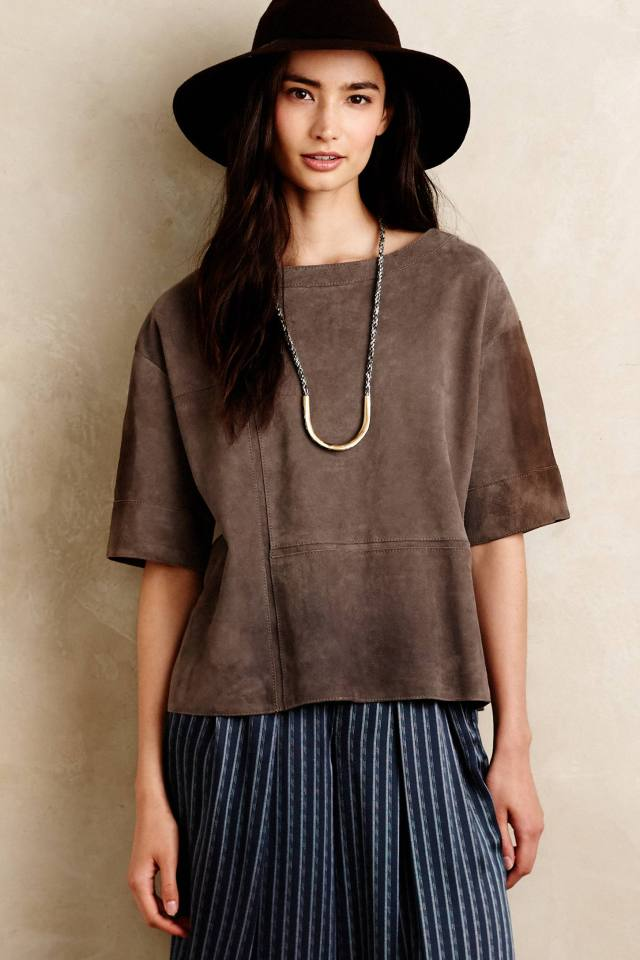 Seamed Suede Tee by Burning Torch