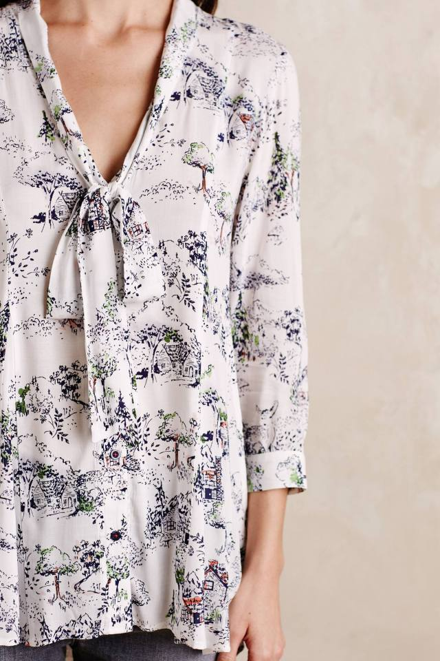 Tie-Neck Swing Blouse by Maeve