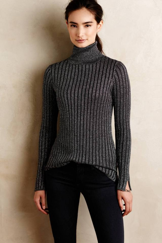 Shimmered Cables Turtleneck by Velvet by Graham and Spencer