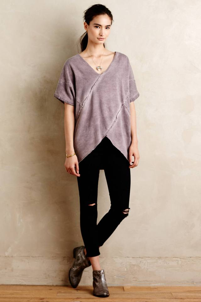 Fleeced Cross-Front Pullover by Brand Label