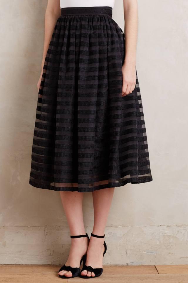 Velvet-Stripe Midi Skirt by Erin Fetherston
