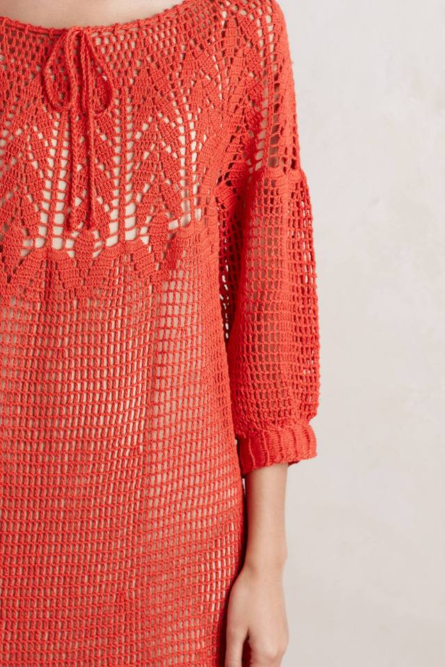 Coral Crochet Dress by Korovilas