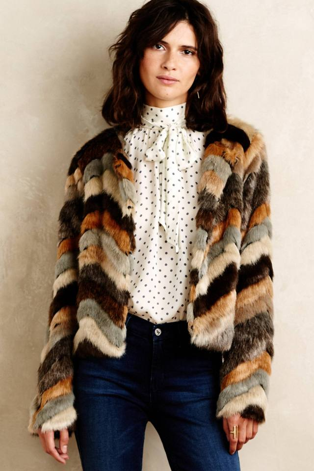 Chevron Faux-Fur Coat by Elevenses