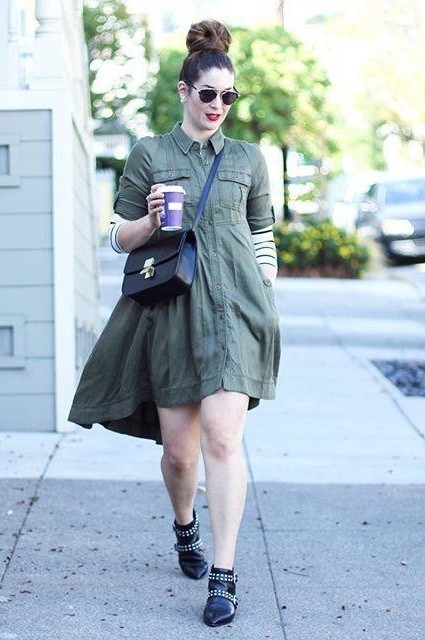 Military Swing Shirtdress by Holding Horses