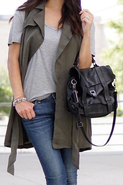 Draped Trench Vest by Elevenses