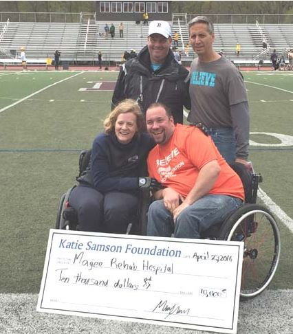 Brunswick 4-1-4-3 - 12 Haverford School 1-1-3-1 - 6 Katie Samson presents a check for $10,000 to Magee Rehab Center. The Katie Samson Foundation Festival is in its 16th year and featured 27 games, the largest single-day high school event of the year.