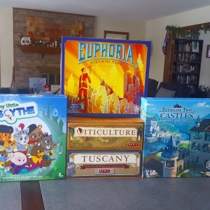 Stonemaier Games: My Little Scythe, Euphoria, Viticulture/Tuscany, Between Two Castles of Mad King Ludwig
