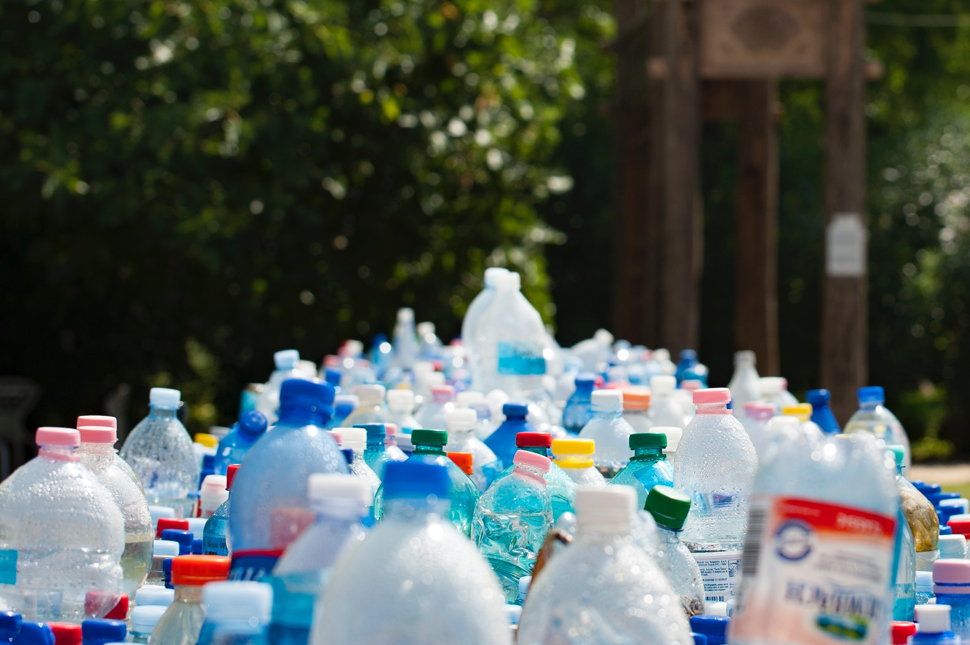 Plastic bottles banned in sustainability policy.