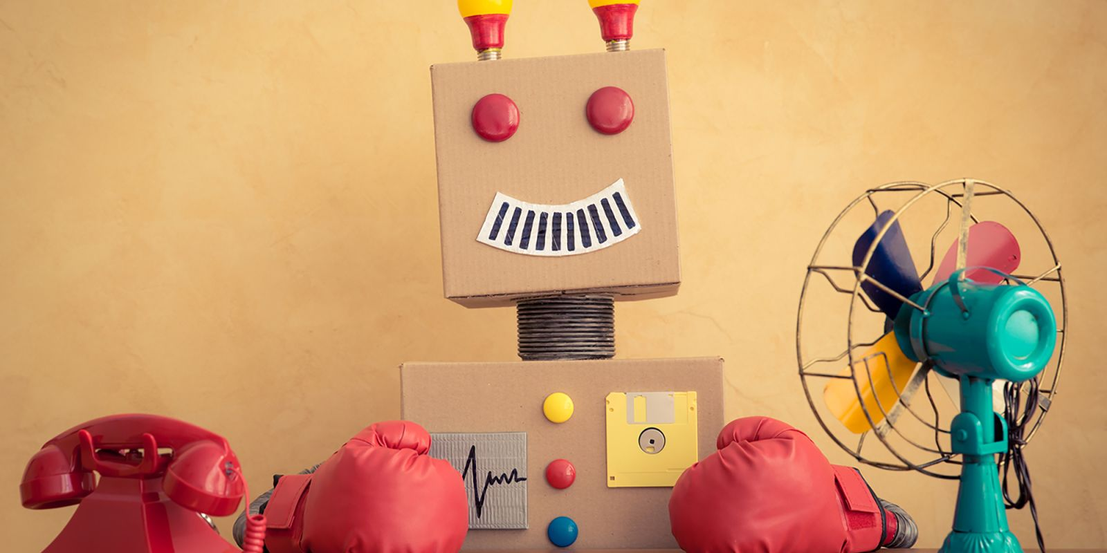 Picture of a cardboard robot on the video animation company page.
