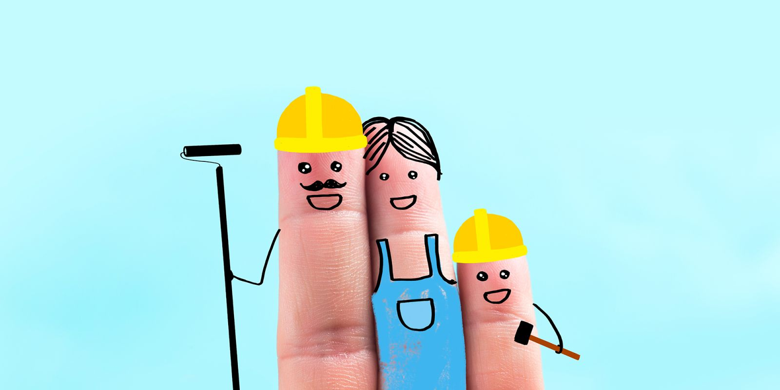 A picture of three fingers with people doodle on them on the explainer video company page.