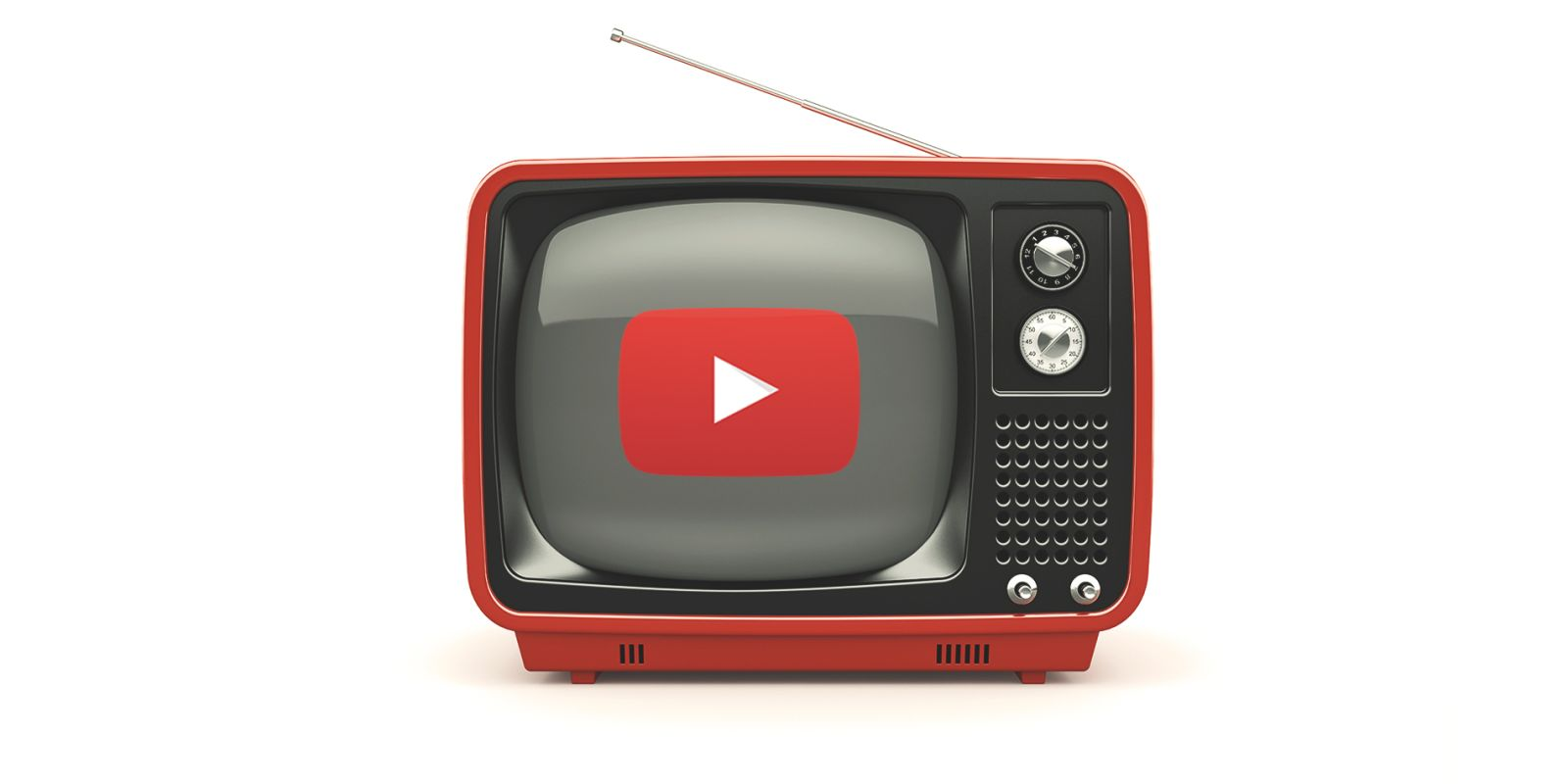 A picture of an old school TV with the YouTube play button in the middle of the screen on the YouTube marketing services page.