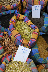 Colorful spices sold at the souk or market