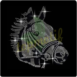 Custom Horse Head Equestrian Rhinestone Transfer Crystal Iron On T Shirt Design Transfer