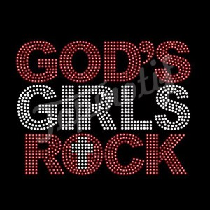 Wholesale Rhinestone Transfers God'S Grils Rock Iron On Motifs Clothes
