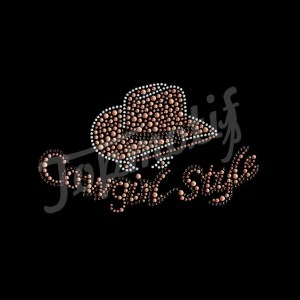 Bling heat transfer cowgirl style iron on design for girls