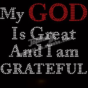 iron on letters my god is great and i am grateful transfer rhinestone design