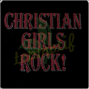 Red Letters Christian Girls Rock Hot Fix Rhinestone Aphalbat Iron Transfer