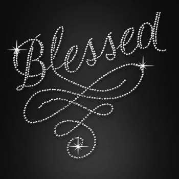 Blessed Rhinestone Transfers Applique For Clothing