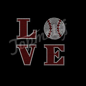 Iron On Transfer Love Square Baseball Rhinestone Transfer Applique Patch Bling